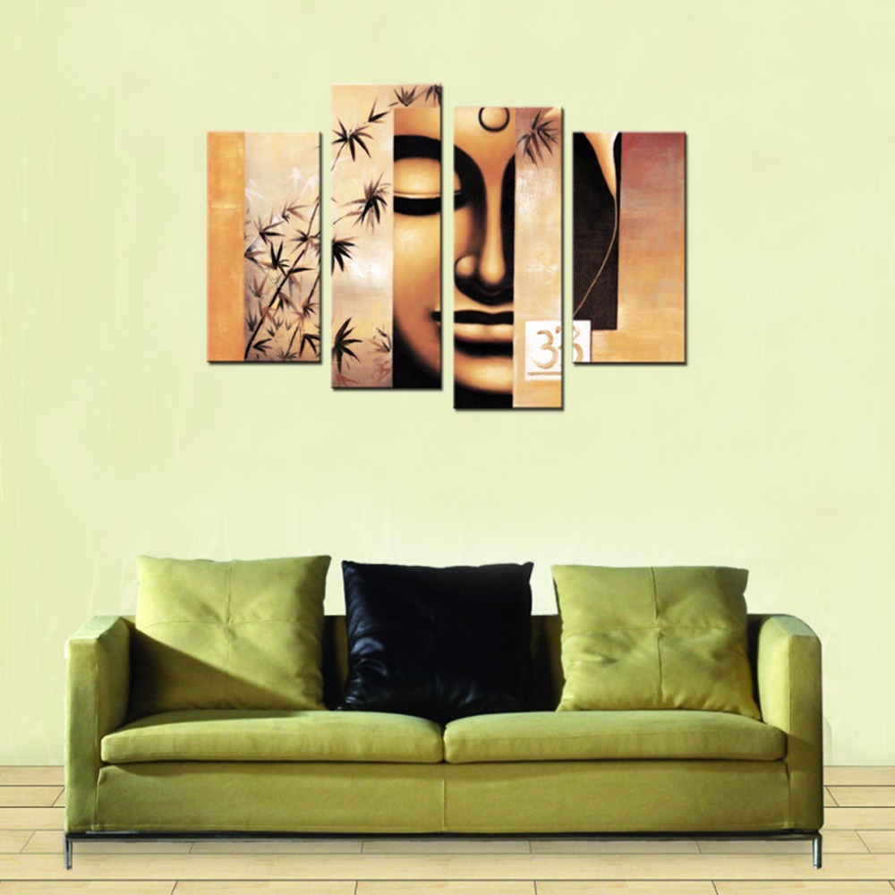 4 Panels Modern Abstract Canvas Painting Buddha Picture Prints On ...
