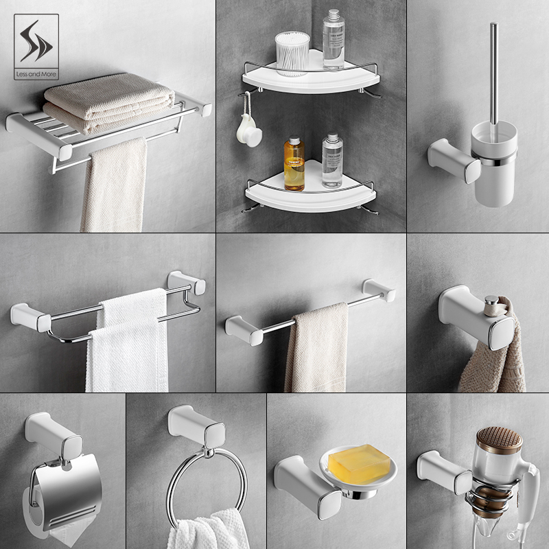 White Spray Paint Towel Rack 304 Stainless Steel Bathroom Hardware Suqre Wall Mounted Soap Dish Bar Accessories