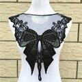 1 unids 37*40 cm Negro Bordado de Encaje de Cuello de Organza Escote Cuello Venise Applique Parches Bordados Accesorios de Costura