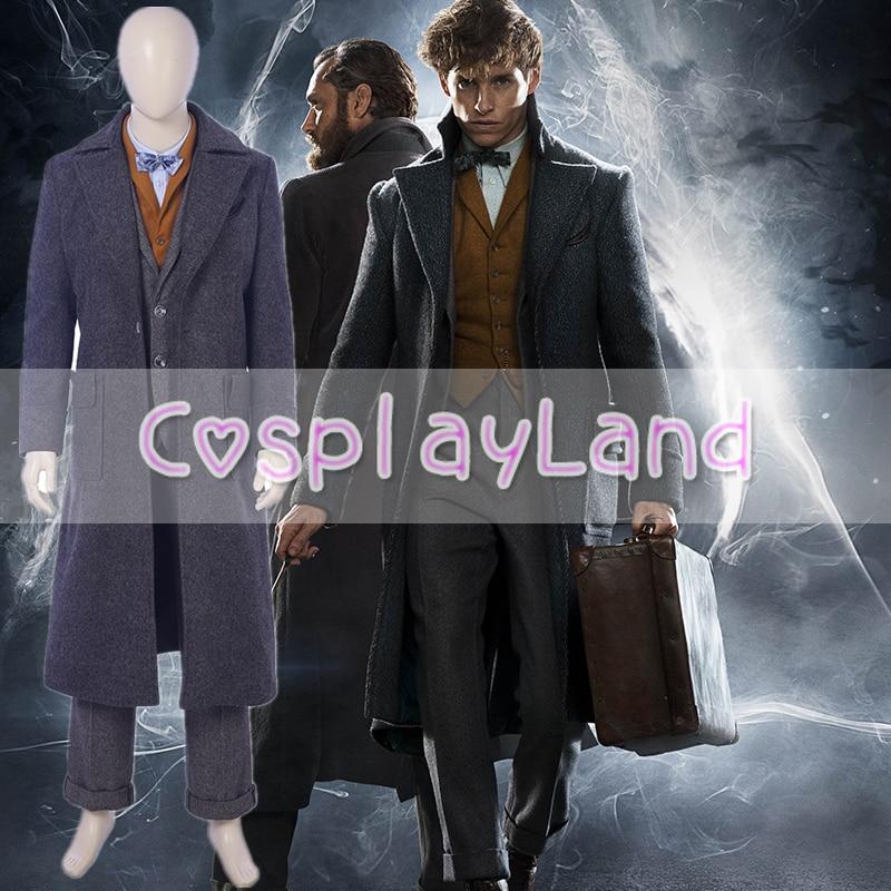 Fantastic Beast The Crimes of Grindelwald Newt Scamander Cosplay Costume Halloween Costumes For Men Full Set Suit Custom Made