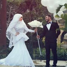 Robe de Mariage Gelinlik With Hijab Veil Sexy Mermaid Long Sleeve Islamic Muslim Wedding Dress China Princess Wedding Dress