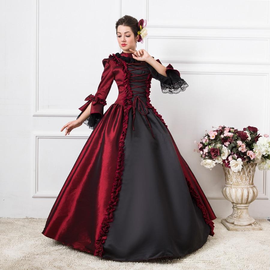 Top Sale Gothic Burgundy and Black Penny Dreadful Renaissance ...