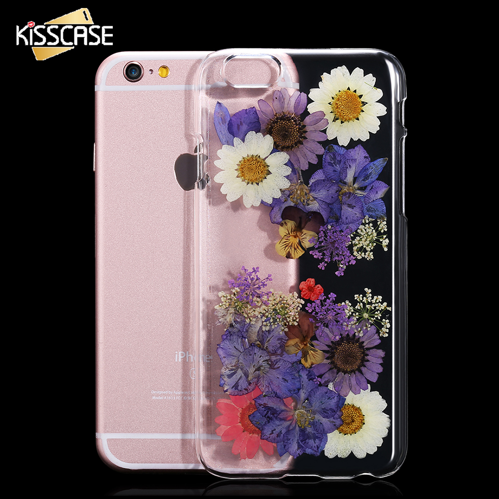 Kisscase para iphone 6 6s para iphone6 plus/6 s plus case genuino secas flor hec