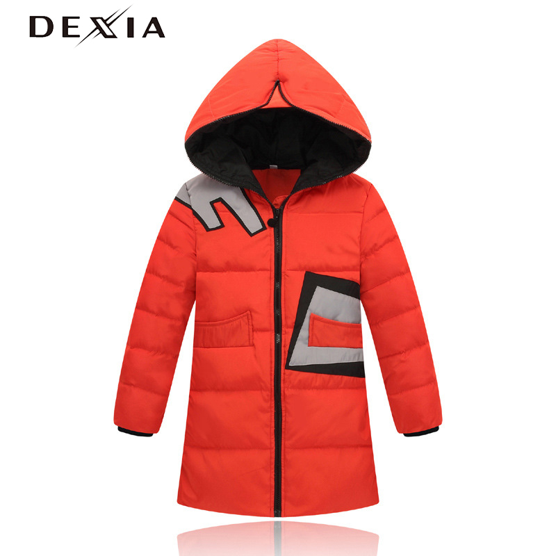 DEXIA New Design Children Down Parkas Autumn Hoodie Long Pattern Wind Proof White Duck Down Thick Clothes Boys Winter Clothing slimming drawstring hooded stripes pattern badge design color block long sleeves flocky hoodie for men