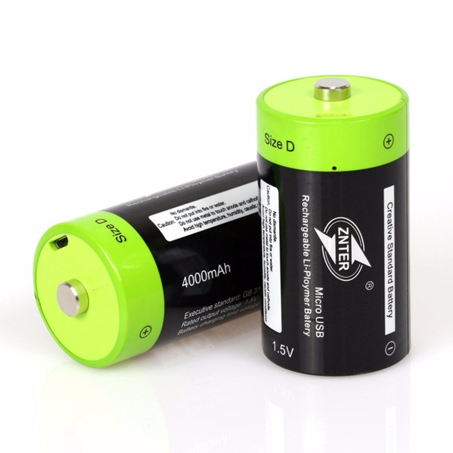 ZNTER 1.5V 4000mAh Battery Micro USB Rechargeable Batteries D Lipo LR20 Battery For RC Camera Drone Accessories 2
