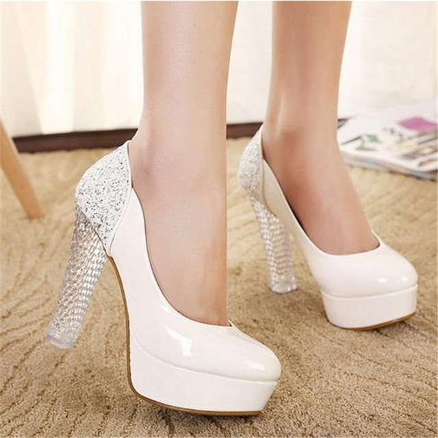 77d1c9015845 Cinderella glass slipper crystal platform 2016 women white closed toe high  heels shoes china plataforma calzado mujer pumps F7