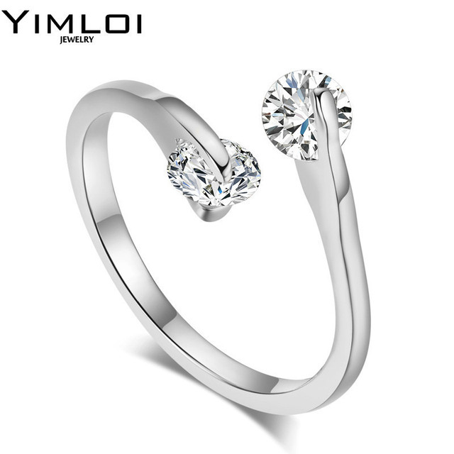 Silver Color Ring Jewelry 4 Prongs 08 Carat CZ Simple Wedding Rings