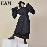 EAM 2017 New Autumn Winter Lapel Long Flare Sleeve Solid Color Black Loose Big Hem