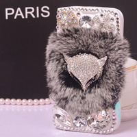 Luxury Bling Diamond Crystal Fox Soft Rabbit Hair Flip Leather PU Wallet Stand Case Cover For