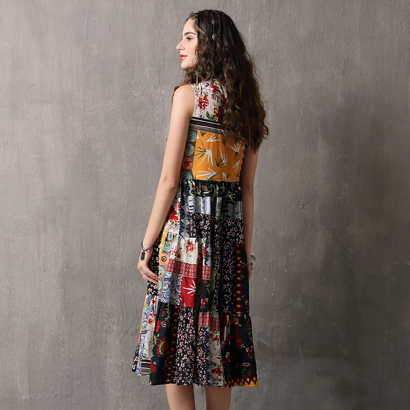Summer Dress 2018 Yuzi.may Boho New Chiffon Vestidos O Neck Sleeveless Swing Hem Floral Print  Women Sundress A82105 Dress Femal-in Dresses from Women's Clothing    3