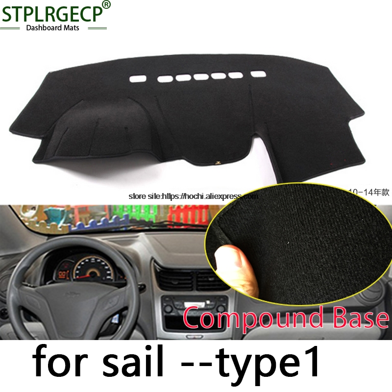 STPLRGECP double layer Black Dash Mat For Chevrolet sail 2010-2016 Dashmat Black Carpet Car Dashboard Automotive interior Mats stplrgecp double layer black dash mat