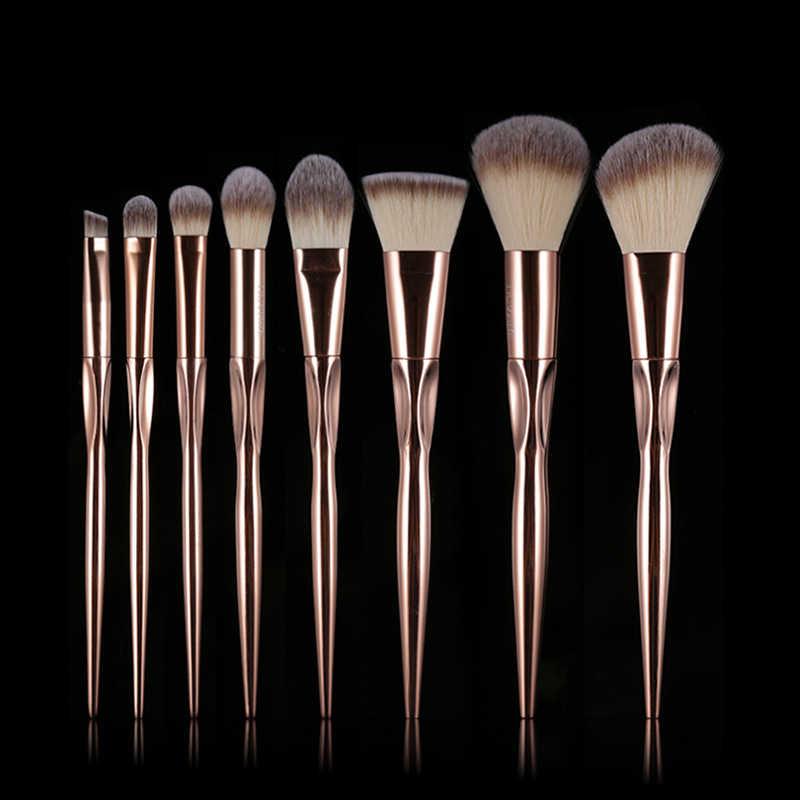 8Pcs Rose Gold Metallic Makeup Brushes Set Grasp Handle Foundation Powder Eyeshadow Contour Make-up Brushes Cosmetics Tool Kit 3 msq 8pcs makeup brushes set rose gold foundation powder eye make up brushes kit soft goat