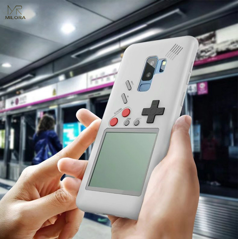 MLR 2018 Retro GB Gameboy Tetris Phone Cases for Samsung S9/S9 Plus Soft TPU Can Play Blokus Game Console Cover For Galaxy S9/S9