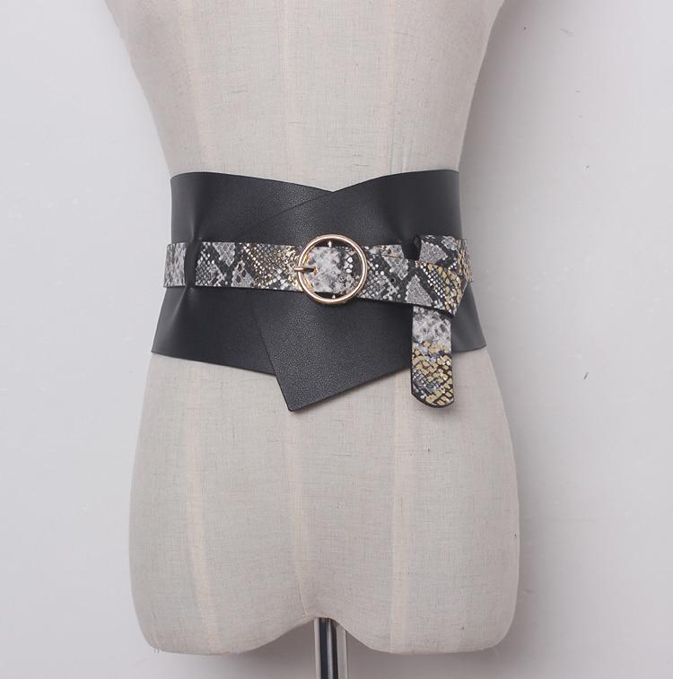 Women's Runway Fashion PU Leather Cummerbunds Female Dress Coat Corsets Waistband Belts Decoration Wide Belt R1161