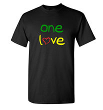 One Love T Shirt - Green Red & Yellow Reggae Tee New Shirts Funny Tops Unisex Top 2018 Arrival MenS Fashion