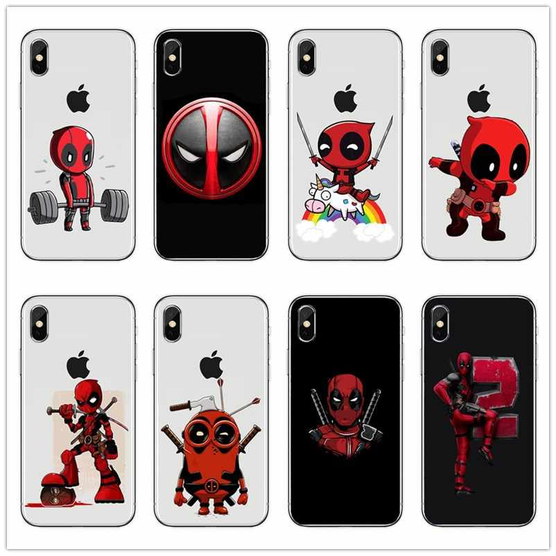 Super Cool Marvel Deadpool Super Hero silicone soft TPU Phone Back cover Case For iPhone 4 5 6 7 8 Plus X Fundas Coque Capa