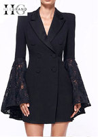 HEE GRAND 2018 Winter Blazers Plus Size 3XL Double Breasted Notched Lace Flare Sleeve Women Trench Coat Black Slim Jacket WWX466