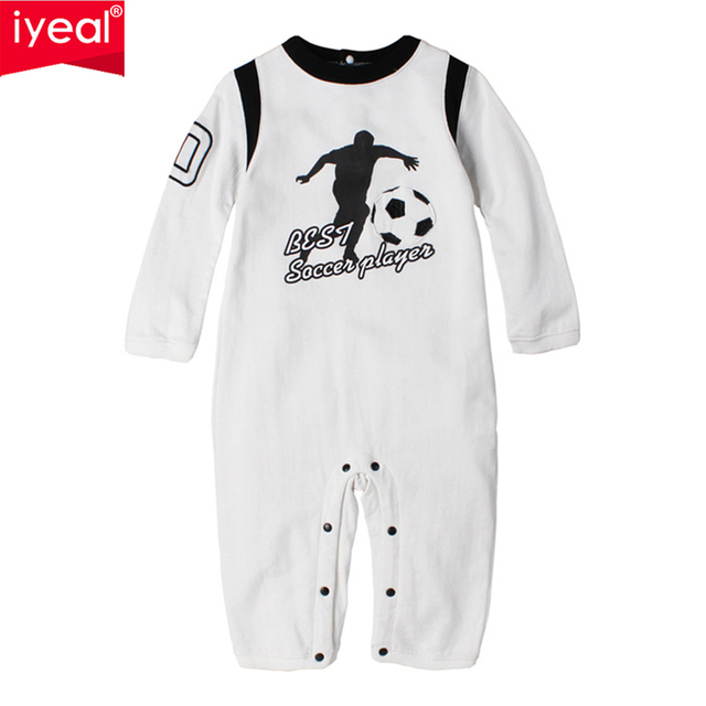 51cd43ab675a Newborn Baby Boy Rompers Cotton Long Sleeve Sport Pattern Jumpsuit ...