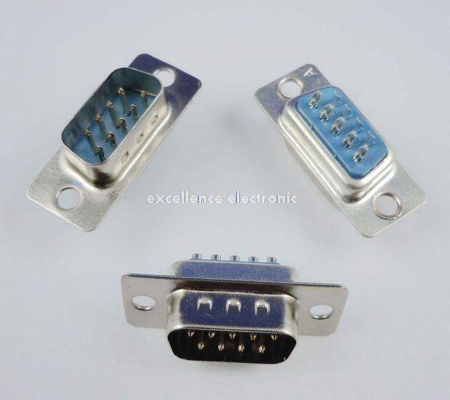 100 Pcs D-SUB 9 Pin Male Solder Type Plug Adapter Connector DB9M 10 pcs d sub 15 pin male solder type plug adapter vga connector serial ports db15m