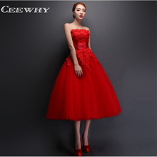 CEEWHY Red Embroidery Evening Dress Tea-Length Ball Gown Party Elegant Vestido De Festa Wedding Party Prom Gown Robe de Soiree