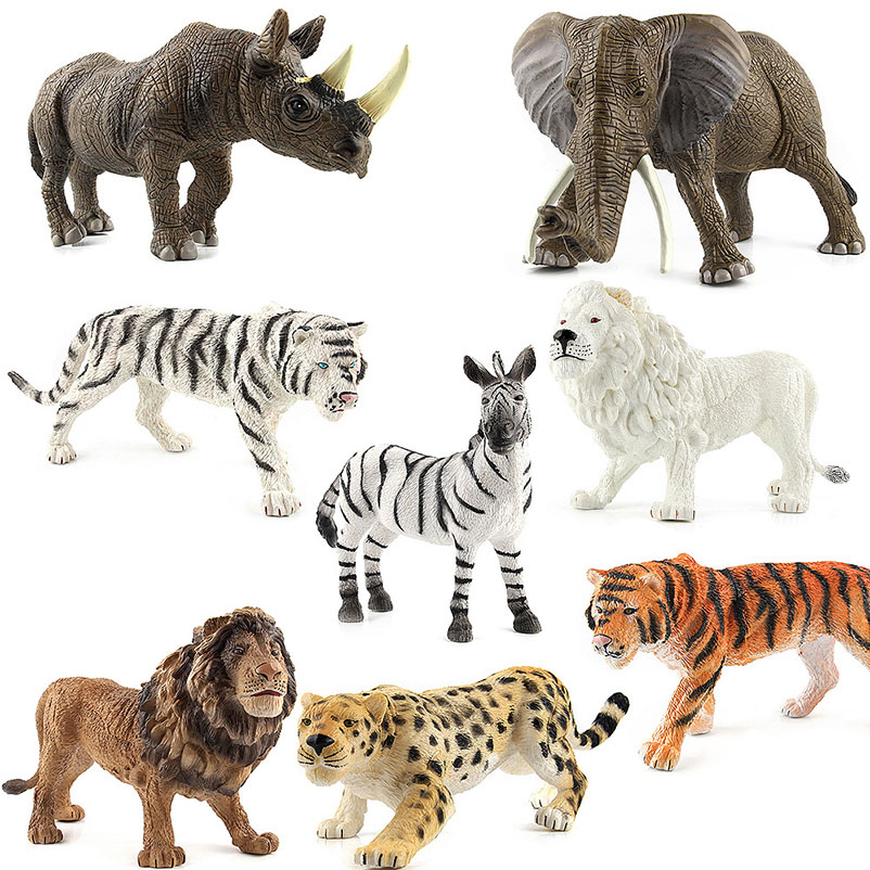 Animal Figures Toy Kids Children Early Learning Animal Model Toys Tiger Lion Elephant Collection Model Toys Mobile Phone Straps