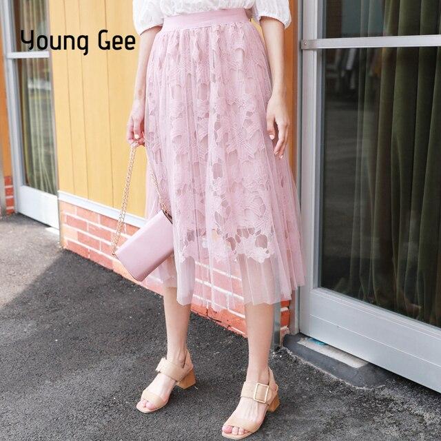 07dfd67904c60 Young Gee Women Fashion Vintage Long Skirts Sweet Crochet Lace Floral Mesh  Tutu Saia A Line