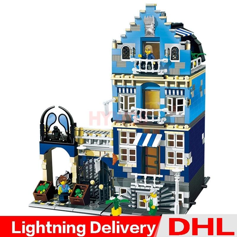 LP 15007 MOC City Street European Markets Model Building Block Set Bricks Kits Set Legoesings toys Clone 10190LP 15007 MOC City Street European Markets Model Building Block Set Bricks Kits Set Legoesings toys Clone 10190