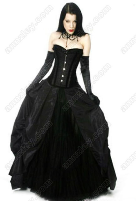 Plus Size Long Black Corset Prom Dresses Vintage Lace Gothic ...