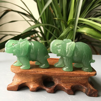 10pcs natural hand carved crystal Gemstone small Green dongling elephant animal