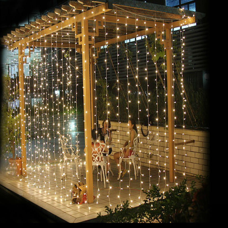 Led Outdoor Party String Lights: 3M X 3M 300 LED Outdoor Curtain Garlands Home Warm White