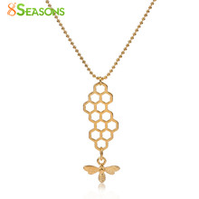 "8SEASONS Women New Trendy Jewelry Necklace gold-color Honeycomb Bee Insects Hollow Pendant Sweater Jewel 45cm(17 6/8"") long 1 PC(China)"