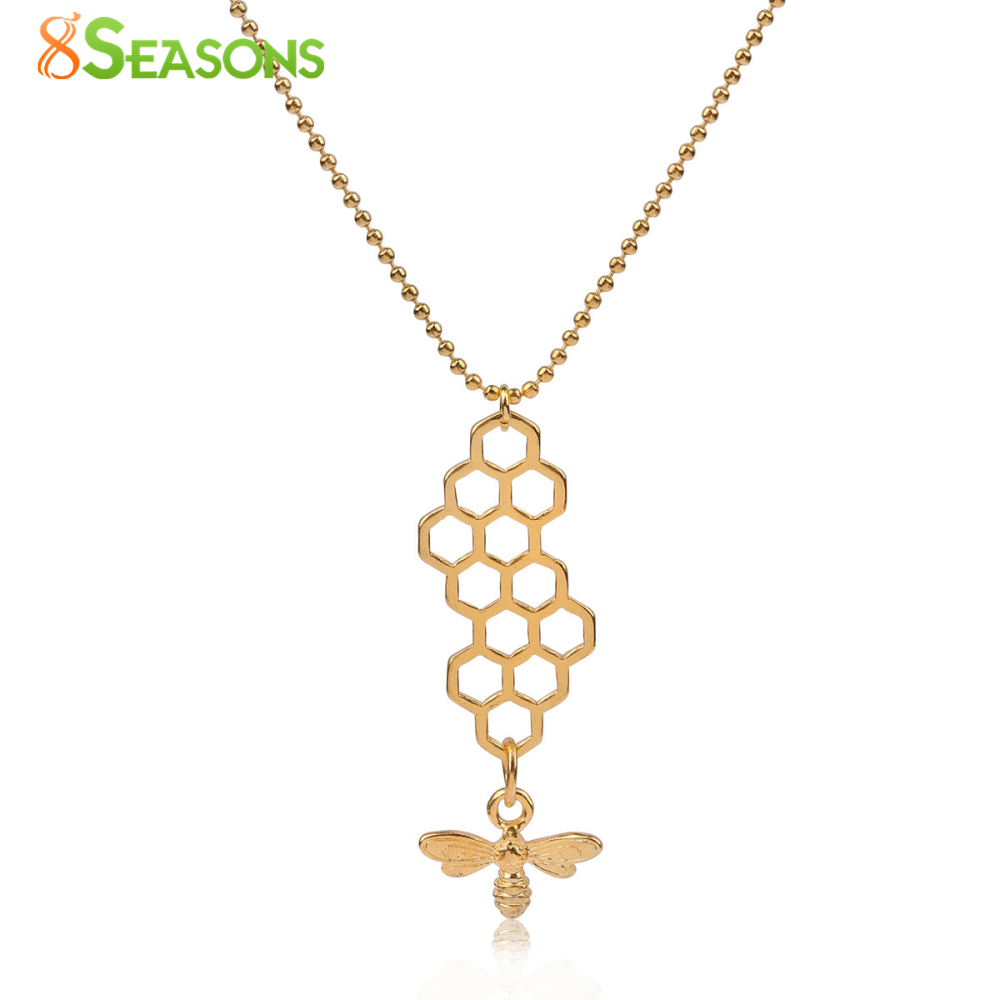 "8SEASONS Women New Trendy Jewelry Necklace gold-color Honeycomb Bee Hollow 45cm(<font><b>17</b></font> 6/<font><b>8</b></font>"") long, 1 Piece"