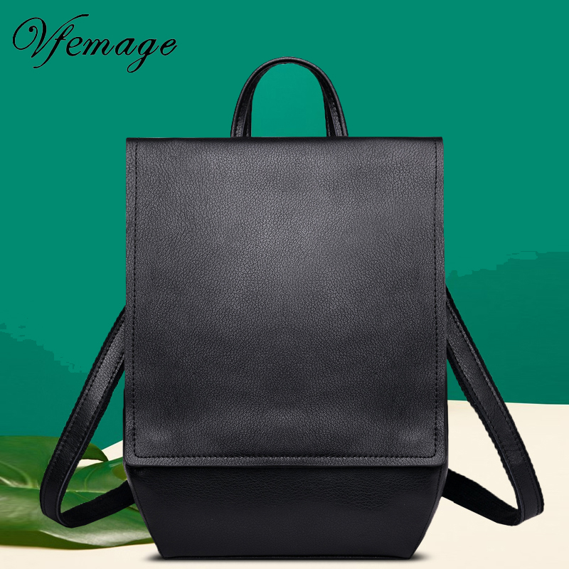 Vfemage Genuine Leather Backpack Women Cow Leather Bags Female Shoulder Bag Schoolbags for Girls Backpacks Women Casual Bagpack-in Backpacks from Luggage & Bags    1