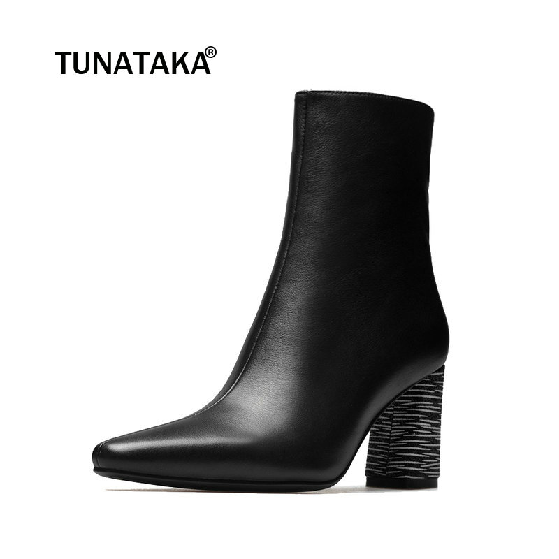 цена на Ladies Genuine Leather Square Heel Ankle Boots Fashion Zipper Square Toe Autumn Bootie Shoes Black