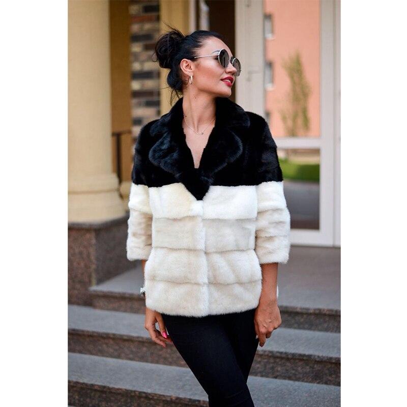 Mode Vison Manteau Amovible La Taille Nouvelle Fursarcar Col Naturel De Veste Femmes Hiver Plus Long Avec Luxe Fourrure Hqw18xxU