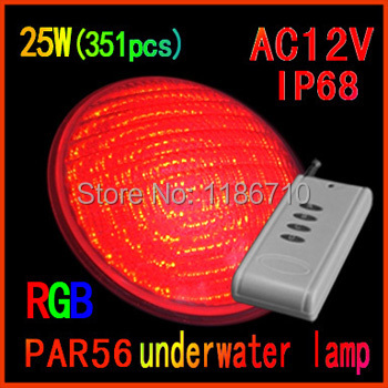 Small Power 25W(351pcs) RGB PAR56 LED Swimming Pool Light SMD 12V LED Underwater Light With Remote Control Free Shipping new brand auto swimming pool cleaner with 70micron filter bag porosity 24dv motor voltage cable15m remote control wall climbing