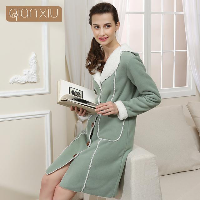 Qianxiu inverno pijamas de boa qualidade doce pijama Engrossar robe para as mulheres roupão