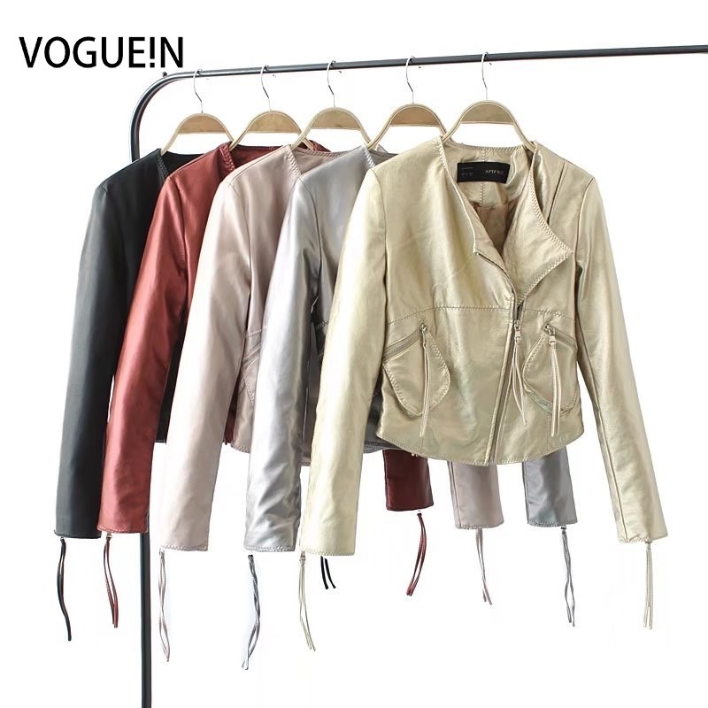VOGUEIN New Womens Fashion Pockets Faux   Leather   Motorcycle Bomber Jacket Outerwear Coat 5 Colors Wholesale
