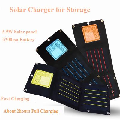 High Effiencicy Solar Charger 6.5W 5V with 5200Ma Battery Energy Storage Solar power bank.Fast charging portable Mobile charger jslinter new solar charger 24w 2 ports portable battery charging treasure with auto technology high power solar panel cell
