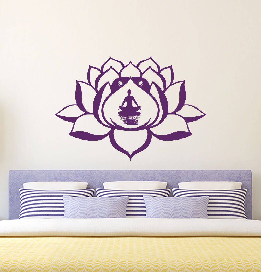 Living Room Yoga Studio Coogee: Lotus Flower Wall Decal Removable Sticky Vinyl Stickers