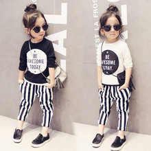 T shirt +striped pants 2pcs/set girls sports suit letter striped clothing sets kids clothes toddler baby girls chidlren clothing