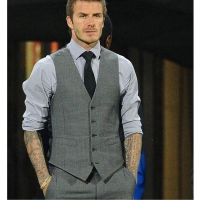 Grey Slim Fit Dress Vests For Men David Beckham Formal Mens Suit Wedding Sleeveless Blazer