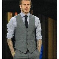 Gris Slim Fit Robe Gilets Pour Hommes David Beckham Formelle Hommes Costume Gilets De Mariage Sans Manches Blazer de mode gilet