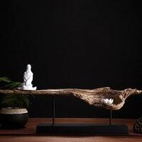 Китайские религиозные Стиль Белый Смола Скульптура дзадзэн Будда и лотоса на деревянный поднос украшения дома