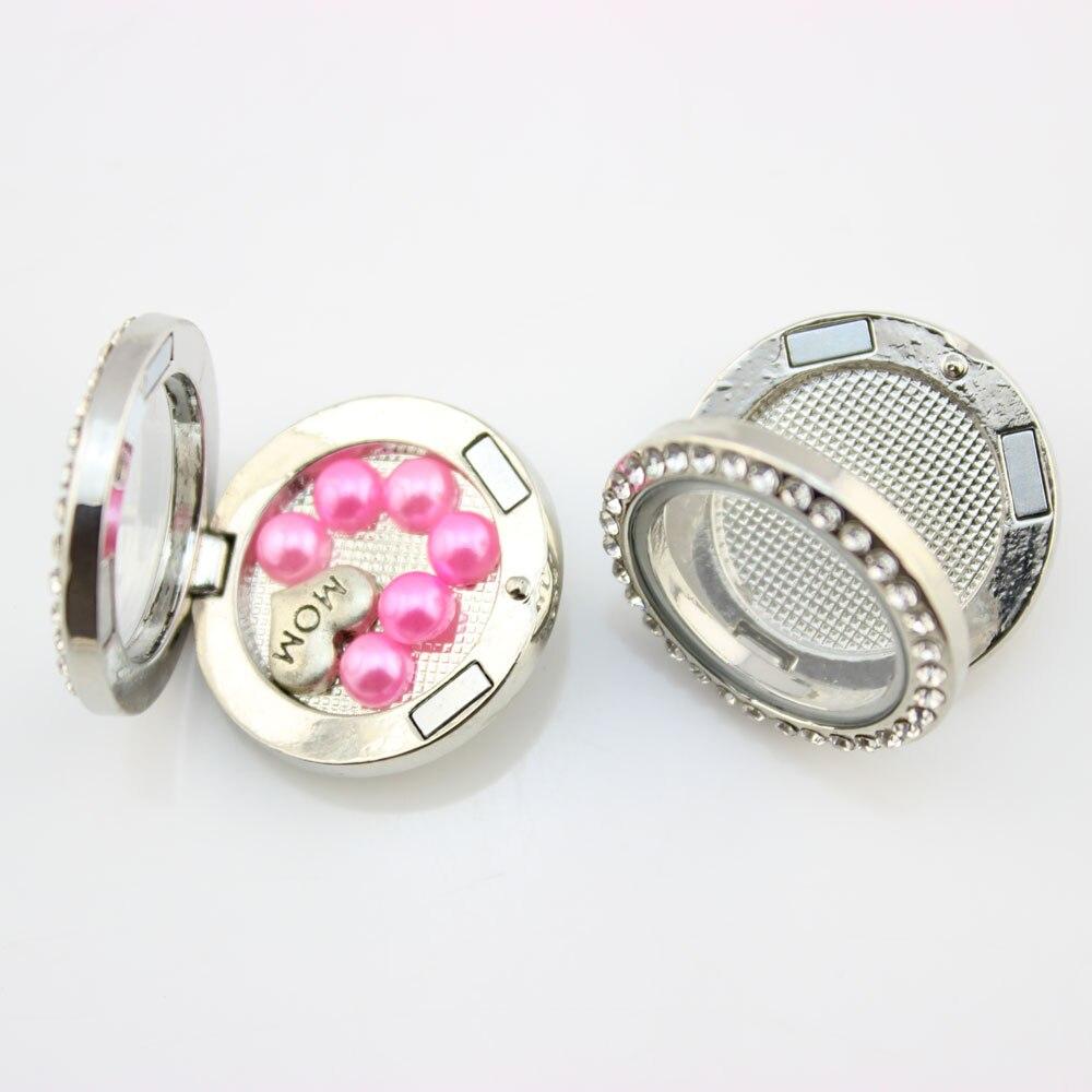 20 pièces bouton pression par verre magnétique amulettes flottantes médaillon avec cristal bricolage femmes bijoux rond coeur fleur verre médaillon 18mm