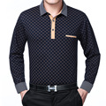 2016 new spring autumn polo homme mens long sleeve shirts men middle-aged plaid solid breathable Business casual shirts size 3XL