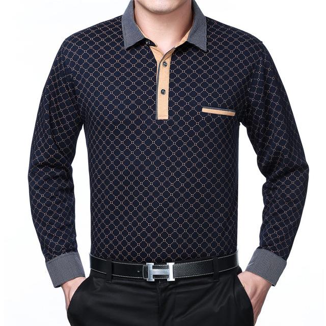 2016 nueva primavera otoño polo homme para hombre sólido de la tela escocesa camisas de los hombres de mediana edad de manga larga casual de Negocios transpirable camisas talla 3XL