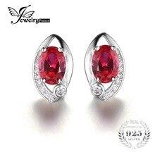 Jewelrypalace ojo 2.3ct creado rubí rojo oval stud pendientes 925 pendientes de plata pendientes de la manera joyería de la mujer accesorios