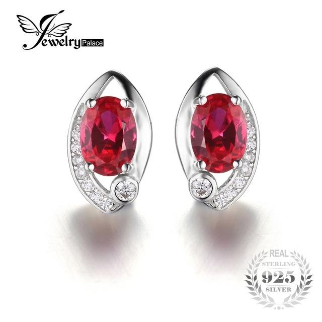 62fb839af40a Jewelrypalace ojo 2.3ct creado rubí rojo oval stud pendientes 925  pendientes de plata pendientes de