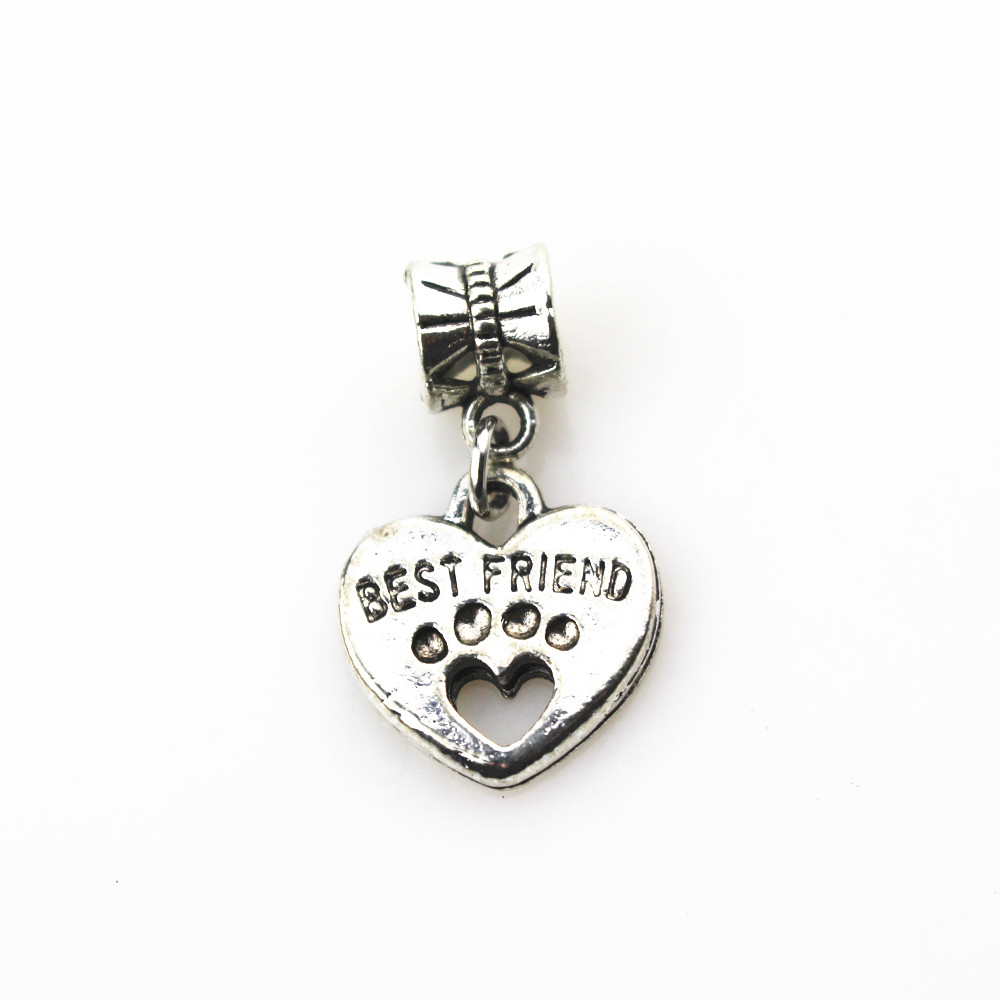 Free shipping 20pcs/lot best friend heart charms big hole pendant beads fit women bracelet & bangle diy jewelry dangle charms